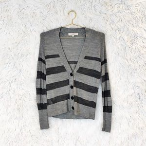 Loft striped merino wool blend cardigan